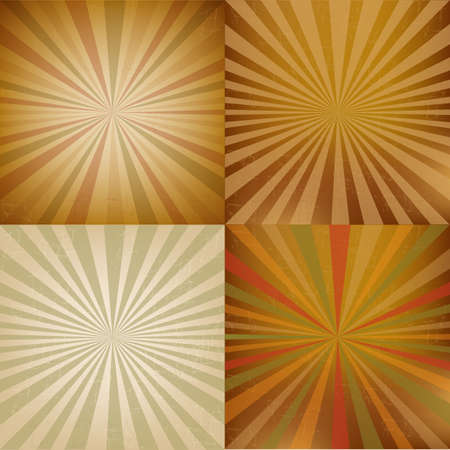 4 Vintage Square Shaped Sunburst Vector