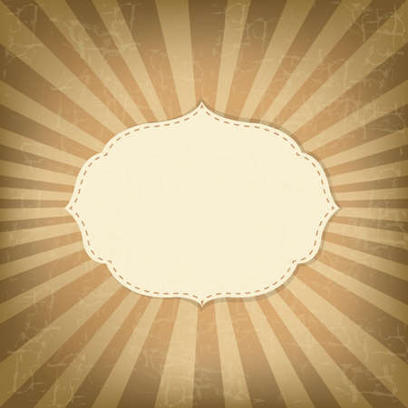Vintage Sunburst With Label, Old Card Stock Vector - 13417247