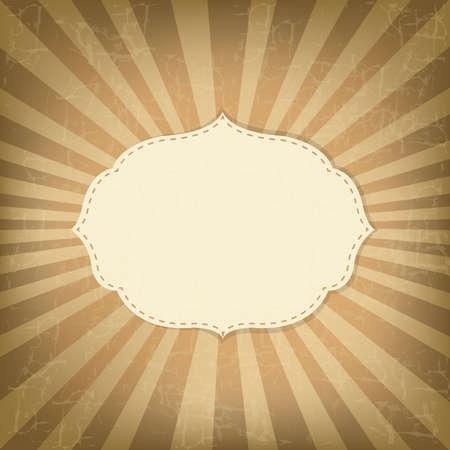 circular frame: Vintage Sunburst With Label, Old Card Illustration
