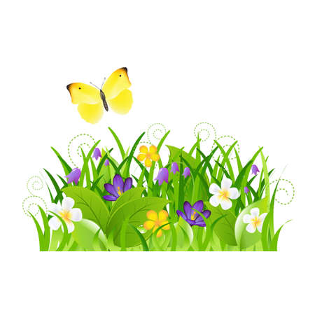 Flowers With Grass And Butterfly Stock Vector - 13417264