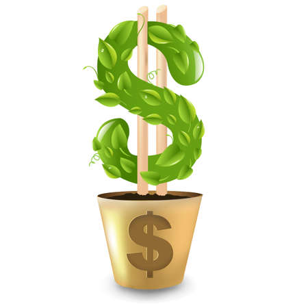 Dollar Growing From Gold Pot, Isolated On White Background  Vector
