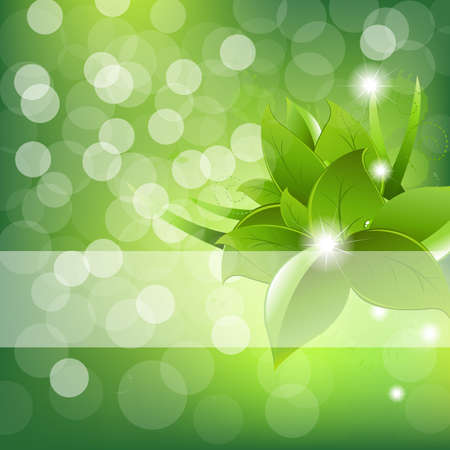 Green Leaves Design With Sun Beams  Illustration