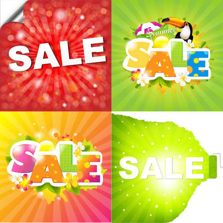4 Colorful Sale Posters With Sunburst Illustration Vector