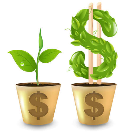Gold Pot With Dollar And Sprout Illustration Stock Vector - 13483424