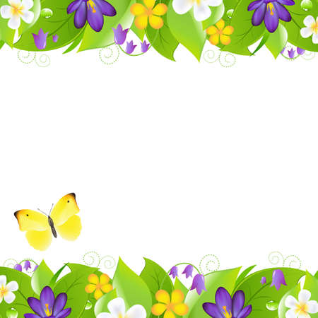 2 Summer Flowers Borders With Butterfly Vector