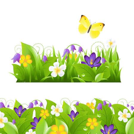 krokus: 2 bloemenborders Stel, op een witte achtergrond, illustratie Stock Illustratie