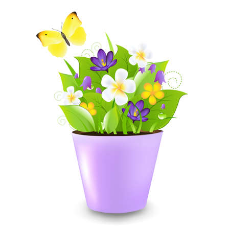 Lilac Pot With Flowers And Butterfly,Illustration Vector