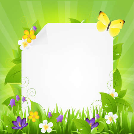 Paper With Flowers And Grass,Illustration Vector