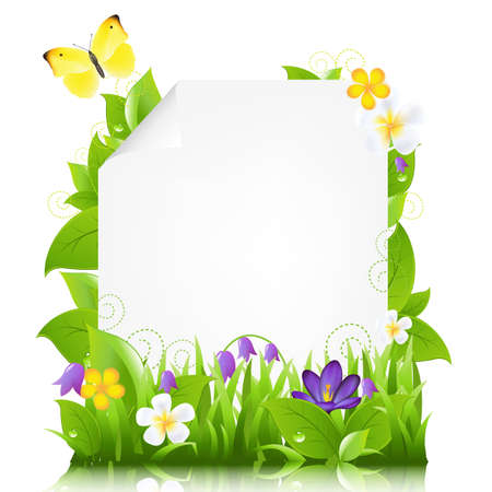 butterfly border: Paper With Flowers And Leaves, Isolated On White Background, Illustration