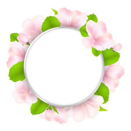 Apple Tree Flowers With Speech Bubble, Isolated On White Background Vector