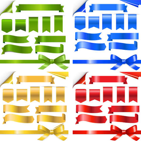 turning page: 4 Color Ribbons Set, Isolated On White Background
