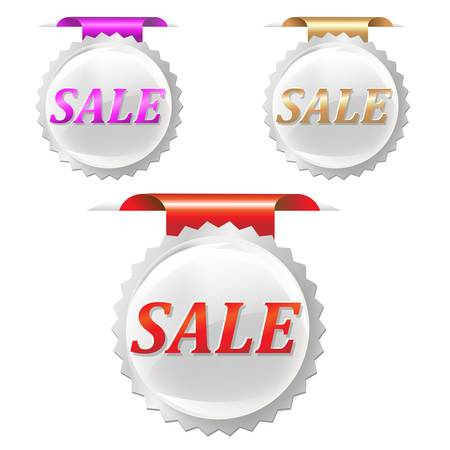 3 Sale Stickers Set, Isolated On White Background, Vector Illustration Vector