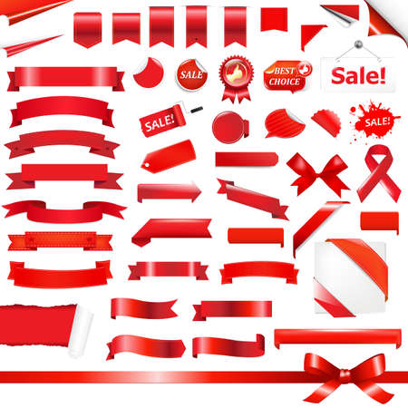 promotion icon: Big Red Ribbons Set, Isolated On White Background, Vector Illustration