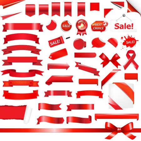fragmentary: Grandes Establecer lazos rojos, aislados en fondo blanco, ilustraci�n vectorial
