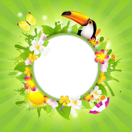 tucan: Summer Poster Template With Tucan And Flowers, Vector Illustration