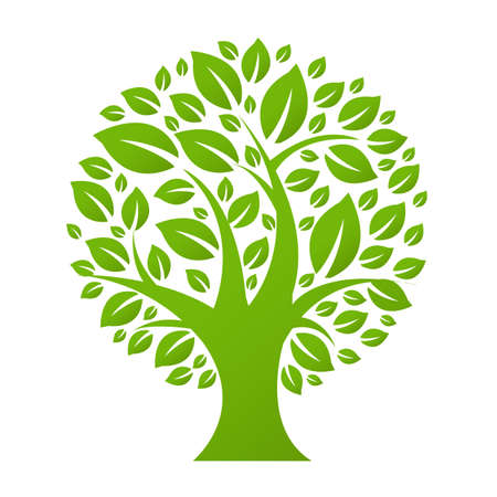 blurred lights: Eco Tree, Isolated On White Background