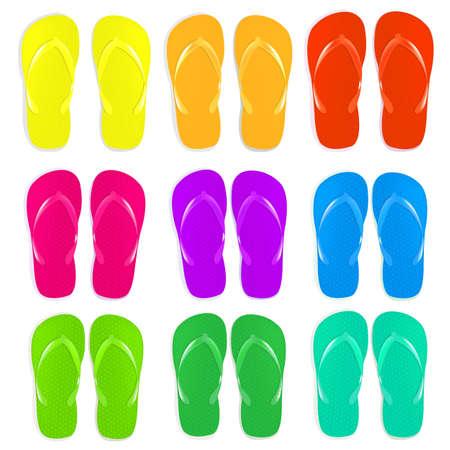 flipflops: 9 Flip Flops Set, Isolated On White Background