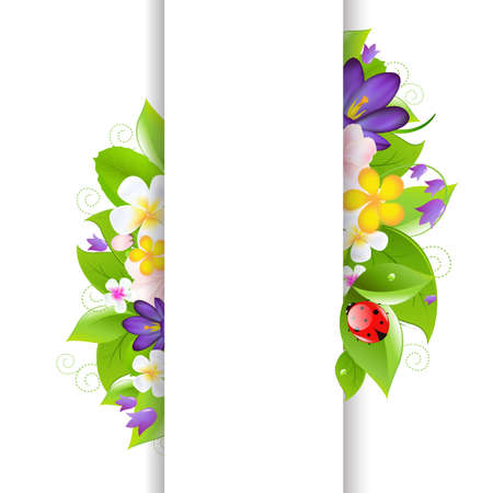 gerber flowers: Flowers And Ladybug With Paper Illustration