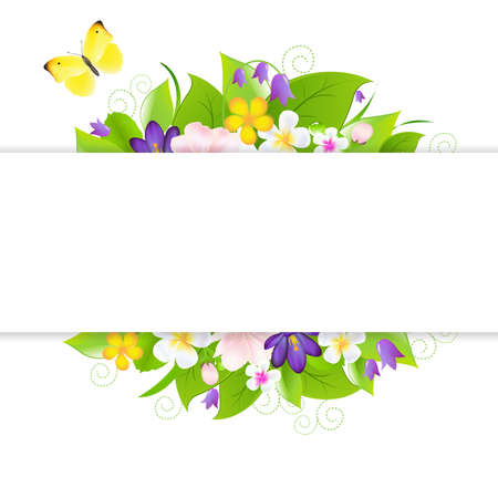 Flowers With Paper, Isolated On White Background Vector