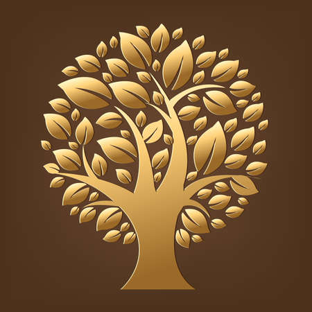 Gold Tree, Isolated On Brown Background