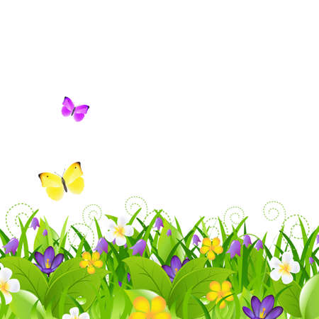 Flowers With Grass With Butterfly, Isolated On Brown Background  Vector