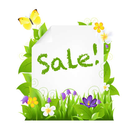 Sale Banner With Flowers And Leaves, Isolated On Brown Background Vector