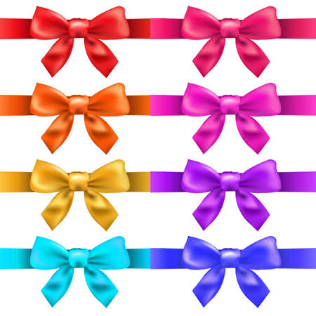 vector ribbons: Big Ribbons With Bow, Isolated On White Background, Vector Illustration