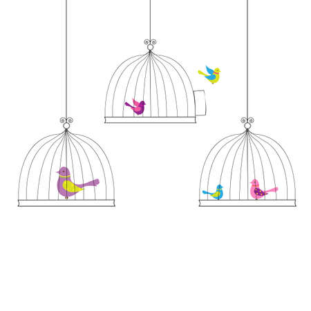 6 Birds in Cage, Isolated On White Background Vector