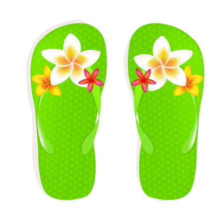 Flip Flop Sandals With Plumeria Flowers, Isolated On White Background, Vector Illustration Vector