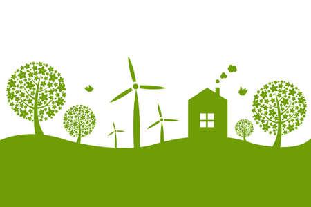 desarrollo sustentable: Panorama Con Casa, aisladas sobre fondo blanco Vectores