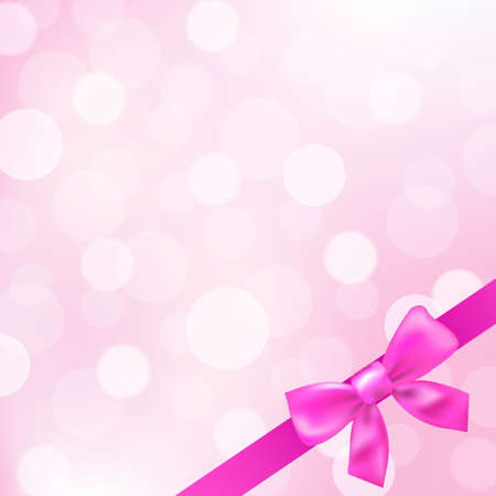 satin round: Pink Ribbons And Bokeh Background