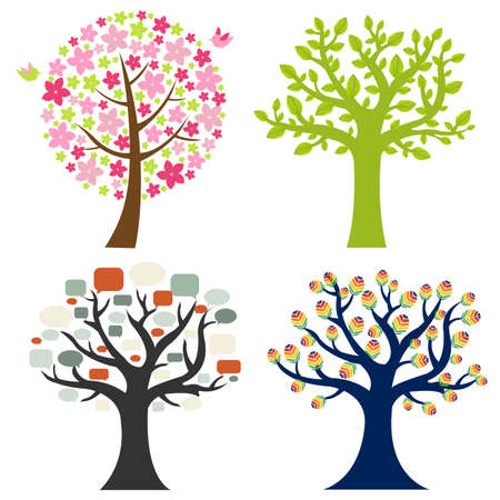 4 Color Tree, Isolated On White Background, Vector Illustration Vector