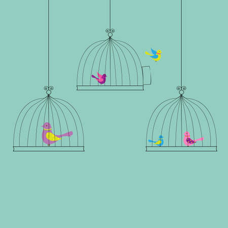 6 Birds in Cage, Isolated On Vintage Background, Vector Illustration Vector