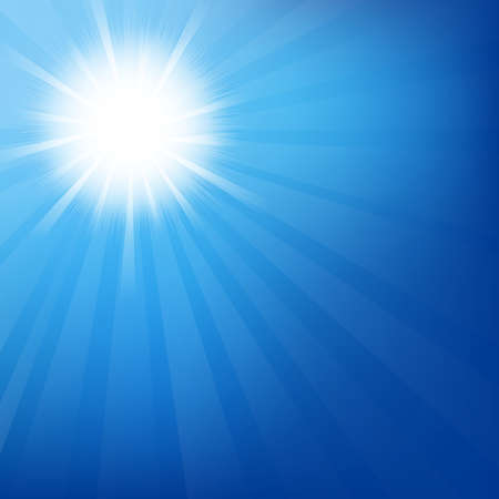 sunburst: Sky With Sunburst, Isolated On Blue Background, Vector Illustration