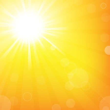 Sky With Sunburst, Isolated On Orange Background, Vector Illustration Vector