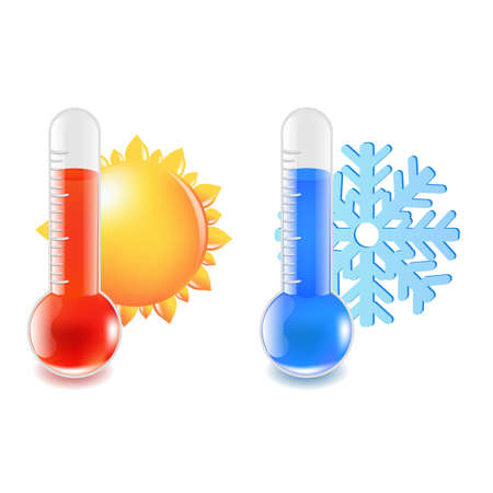 hot and cold: 2 Thermometer Hot And Cold Temperature, Vector Illustration Illustration
