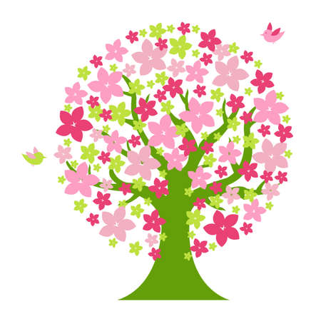 Tree With Flowers And Birds, Isolated On White Background, Vector Illustration  Vector