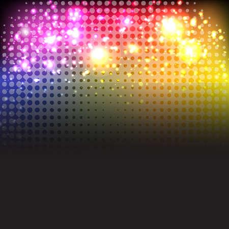 Luminoso Neon Lights sfondo, isolato su sfondo nero, illustrazione vettoriale Vettoriali