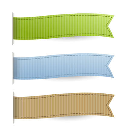 Pastel Web Ribbons Set, Isolated On White Background Illustration
