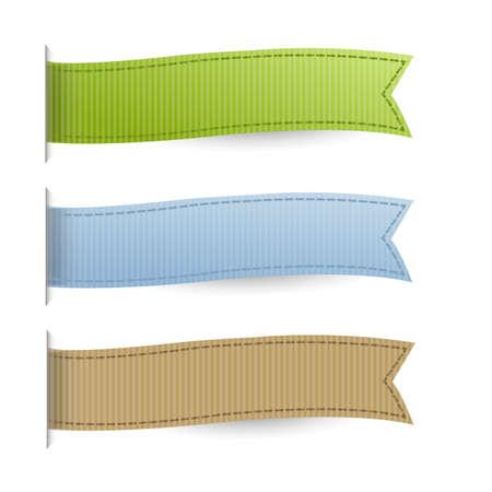 bookmark ribbon: Pastel Web Ribbons Set, Isolated On White Background Illustration