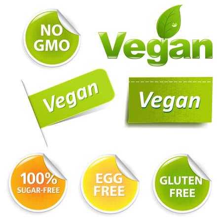 Vegan Food Symbols, Isolated On White Background
