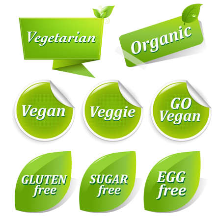 Vegan Food Symbols, Isolated On White Background  Vector