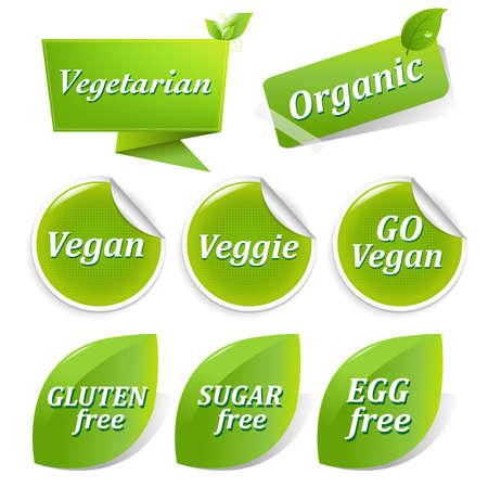 Vegan Simboli cibo, isolato su sfondo bianco