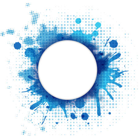 Abstract Blue Background With Blob And Bubble, Vector Illustration Ilustração