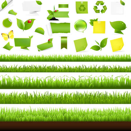 grass border: Big Nature Set With Grass Border, Isolated On White Background, Vector Illustration