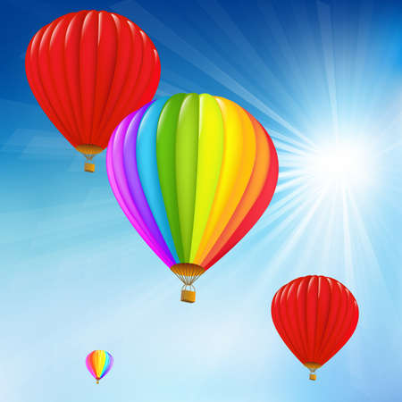 Blue Sky And Air Balloons, Vector Illustration Vector