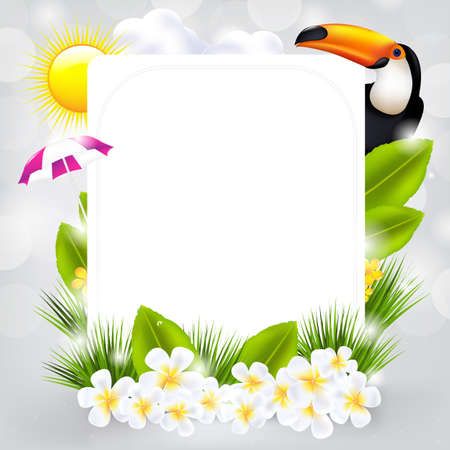frangipani flower: Card With Bird And Flowers, Vector Illustration
