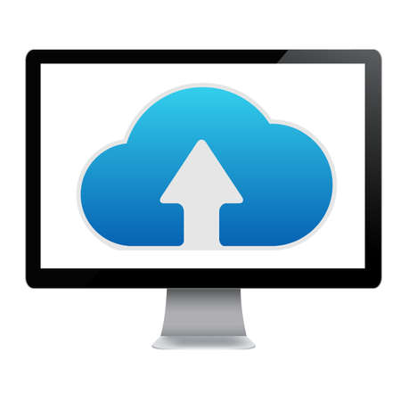 computer icon: Cloud Computing Icon In Computer, Isolated On White Background, Vector Illustration Illustration