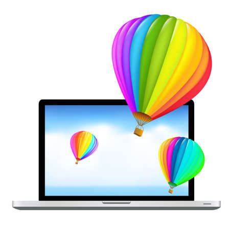 Laptop With Air Balloons, Isolated On White Background, Vector Illustration  Vector