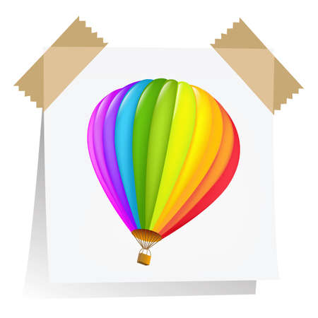 Notes Paper With Air Balloon, Isolated On White Background, Vector Illustration Vector